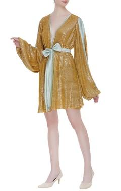 Deme by Gabriella Woven sequin wrap style mini dress