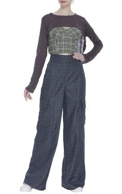 Deme by Gabriella Checkered high waist trousers with corset & blouse