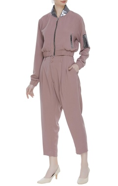 Deme by Gabriella Bomber jacket & gathered waist pants