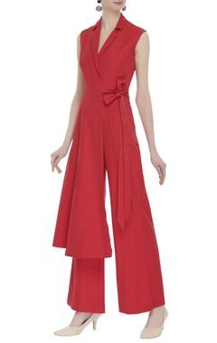 Eshaani Jayaswal Red crepe silk jumpsuit