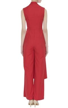 Red crepe silk jumpsuit