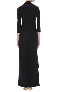 Black crepe silk jumpsuit