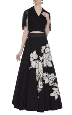 Eshaani Jayaswal Crop top with bouffant lehenga skirt