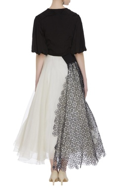 Macrame dual color party gown