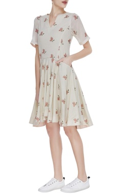 Floral print short dress with asymmetric hemline