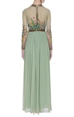 3D floral motif embellished gown