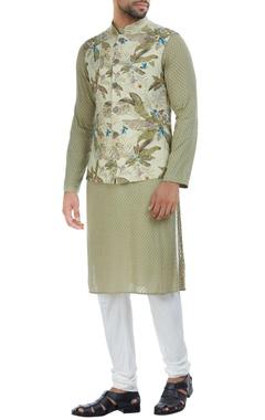 Tropical printed nehru jacket