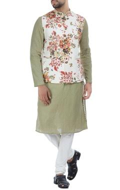 Floral printed cotton nehru jacket