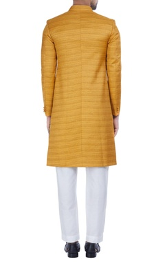 Textured silk achkan jacket with churidar