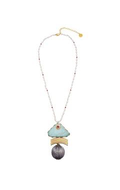 Circular orb pendant long necklace