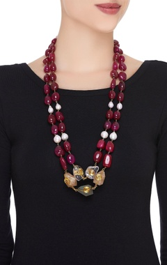 Pearl, onyx & pink stones necklace