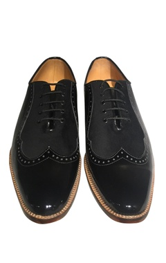 Pure leather & velvet wing tip shoes