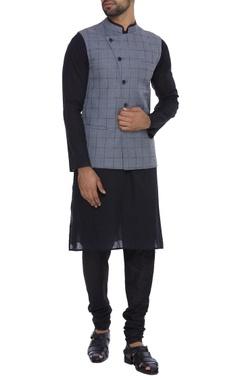 Dev R Nil - Men Cotton silk checkered jacket