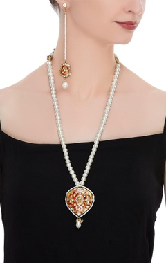 Enameled necklace with kundan details & matching earrings
