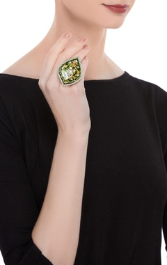 Green enameled ring