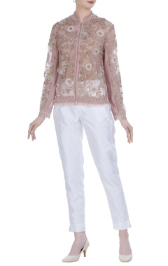 Sheer bomber embroidered jacket
