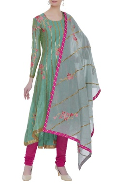 Chanderi gota embroidered kurta set