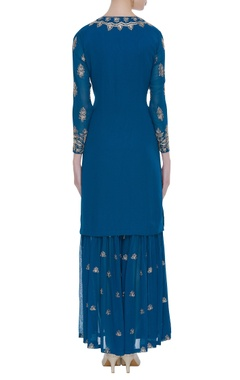 Embroidered georgette kurta & palazzo set