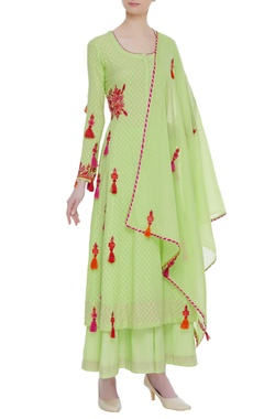 Cotton resham embroidered kurta & palazzo set