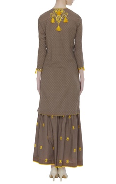 Tassel & embroidered kurta & sharara set