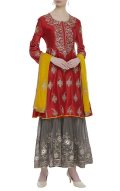 Chanderi anarkali with sharara pants & dupatta