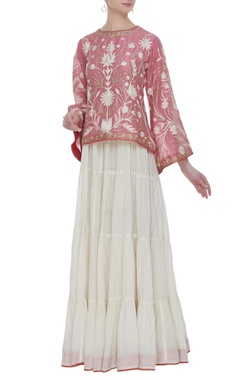 Cotton embroidered kurta & tiered lehenga skirt