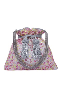 Multi color mosaic potli bag with clustered aabla work