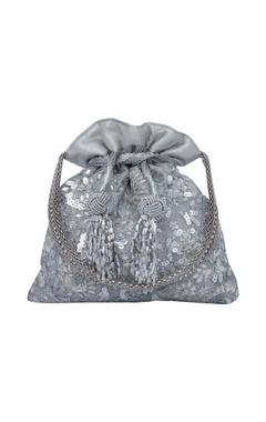 Floral embroidered silver potli bag