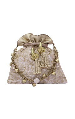 Floral haze eclectic white potli with gold dori work