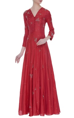 Flared embroidered floor length gown