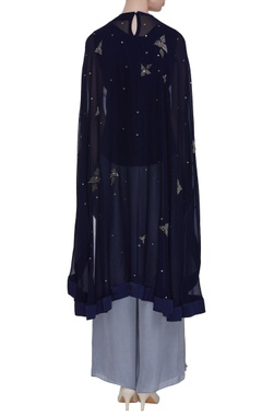 Embroidered high low cape tunic