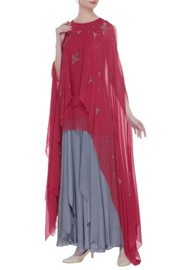 Nachiket Barve Flared sleeves cape tunic with inner