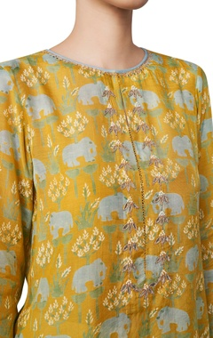 Elephant printed hand block short tunic