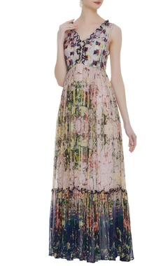Tiered style printed maxi dress