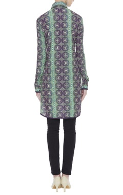 Printed tunic with bead embroidery