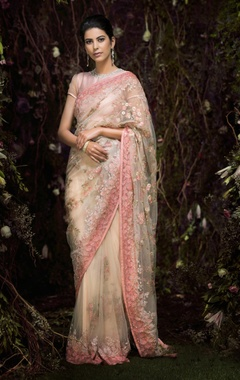Tulle floral sequin & bugle bead sari with blouse