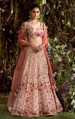 Shyamal & Bhumika Raw silk & organza pitta embroidered lehenga set