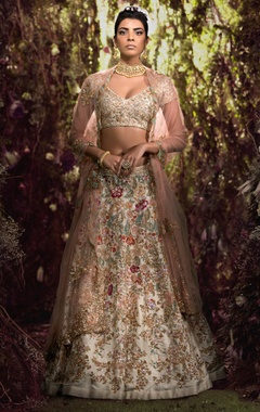 Raw silk lehenga set in resham & sequin work
