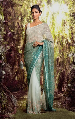 Shyamal & Bhumika Tulle sequin embroidered sari with blouse