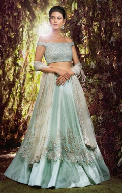 Raw silk sequin & bead embroidered lehenga set