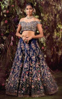 Shyamal & Bhumika Raw silk sequin embroidered lehenga set