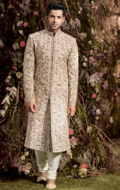 Shyamal & Bhumika Raw silk resham & pitta embroidered sherwani