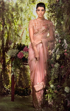 Shyamal & Bhumika Tulle floral applique sari with sequin blouse