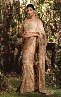 Tulle floral jaal & sequin sari with blouse