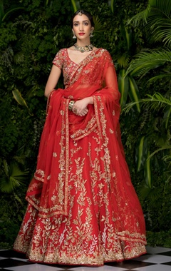 Shyamal & Bhumika Tulle pitta & sequin embroidered lehenga set