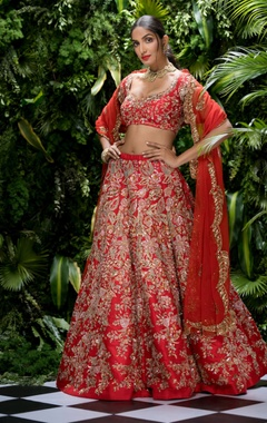 Shyamal & Bhumika Raw silk & tulle sequin & bugle bead embroidered lehenga set