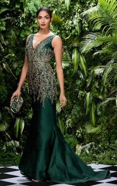 Shyamal & Bhumika Raw silk sequin embroidered & bugle bead gown