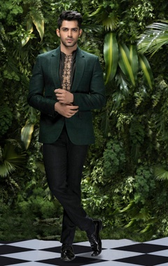 Matka silk jacket with raw silk shirt & trousers