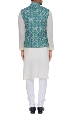 Printed embroidered nehru jacket