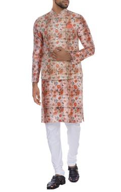 NAUTANKY - Men Rose printed kurta with nehru jacket and churidar